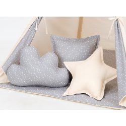 Dreamy formapárna - Mini szürke csillagok bézzsel