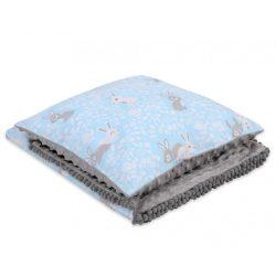 Minky takaró és párna szett  - Nyuszik kék