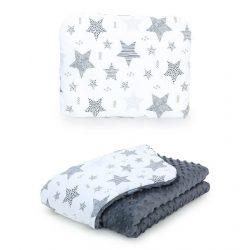 Minky takaró és párna szett  - Csillagmix szürke minkyvel
