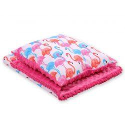 Minky takaró és párna szett  - Flamingók pink