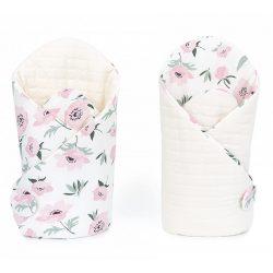 Velvet steppelt pólya - Virágok ekrü steppelt velvettel