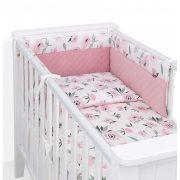 Dreamy 3 részes babaágynemű - Virágok ekrü rózsaszín velvettel