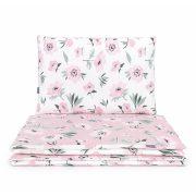 Dreamy 3 részes 90x120cm babaágynemű szett - Virágok ekrü rózsaszín velvettel