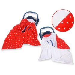 Babaülés-és babakocsi takaró - Csillagok piros