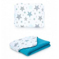 Steppelt bársonyos velvet takaró és párna szett  - Csillagmix kék velvettel