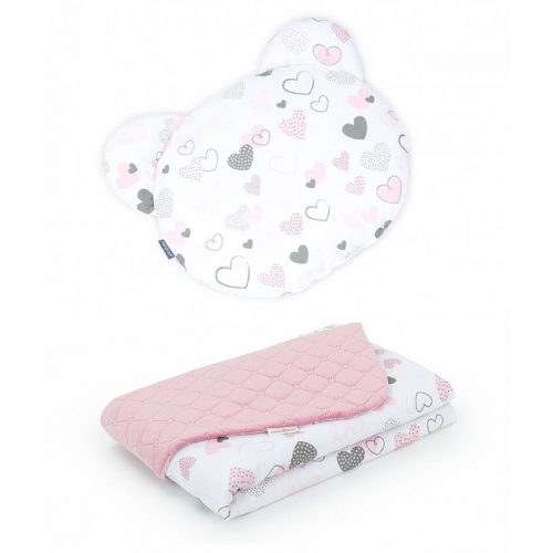 Dreamy Maci párnás babaágynemű szett  - Szívecskék rózsaszín velvettel