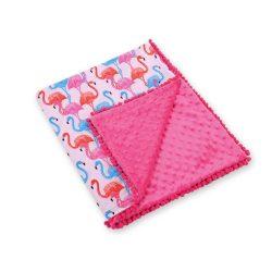 Minky takaró - Flamingók pink minkyvel