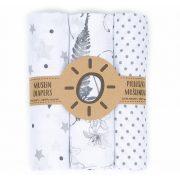 Mintás muszlin textil pelenkacsomag - Szürke variáció