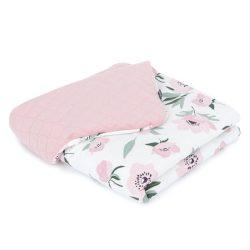 Dreamy babatakaró - Virágok ekrü rózsaszín velvettel