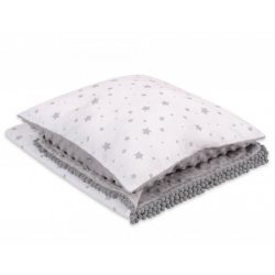 Minky takaró és párna szett  - Szürke csillagok