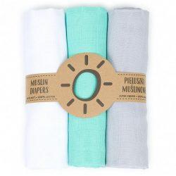 Mintás muszlin textil pelenkacsomag - Fehér menta szürke variáció