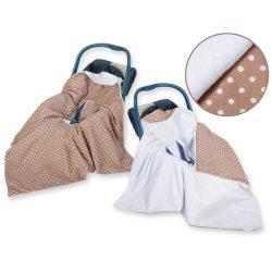 Babaülés-és babakocsi takaró - Pöttyös barna
