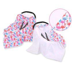 Babaülés-és babakocsi takaró - Flamingók fehér