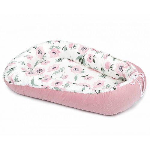 Dreamy babafészek - Virágok ekrü rózsaszín bársonyos velvettel