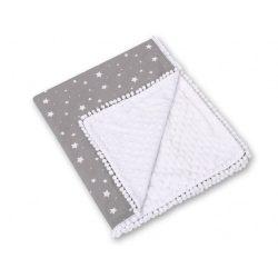 Minky takaró - Mini fehér csillagok