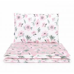 Junior ágynemű huzat - Virágok ekrü rózsaszínnel