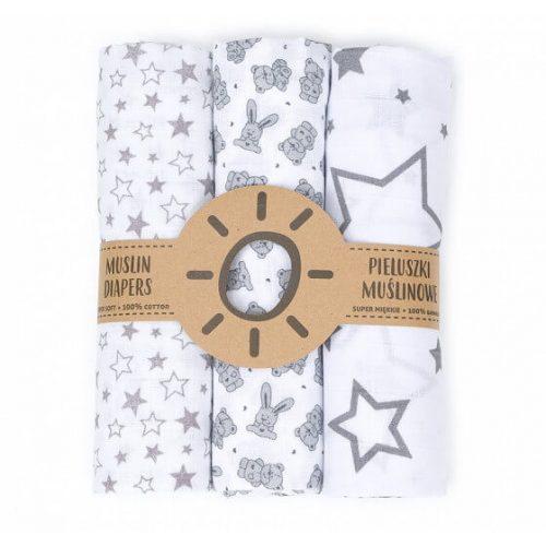 Dreamy muszlin textil pelenkacsomag - Szürke csillagok variáció