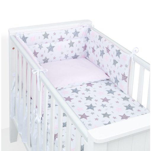 Dreamy babaágynemű garnitúra 3 részes szett - Csillagmix rózsaszín