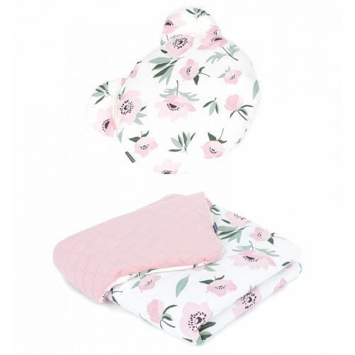 Dreamy Maci párnás babaágynemű szett  - Virágok ekrü rózsaszín velvettel