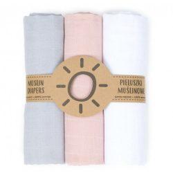 Dreamy muszlin textil pelenkacsomag - Szürke rózsazín fehér variáció
