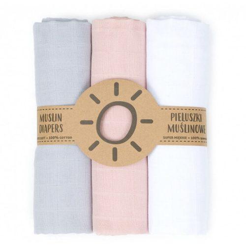 Dreamy muszlin textil pelenkacsomag - Szürke rózsaszín fehér variáció