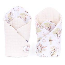 Velvet steppelt pólya - Rózsakert rózsaszín steppelt velvettel