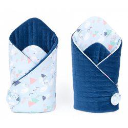 Velvet steppelt pólya - Hattyú kék sötétkék steppelt velvettel