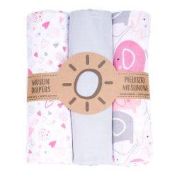 Dreamy muszlin textil pelenkacsomag - Rózsaszín elefánt és szívecskék