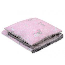 Minky takaró és párna szett  - Nyuszik rózsaszín