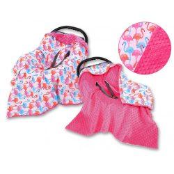 Babaülés-és babakocsi takaró - Flamingók pink