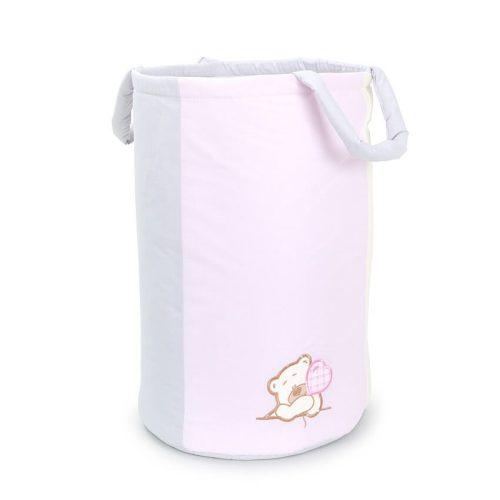 Dreamy játéktároló - Maci rózsaszín hímzett
