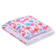 Harmony minky ágynemű szett  - Flamingók fehér