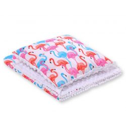 Minky takaró és párna szett  - Flamingók fehér