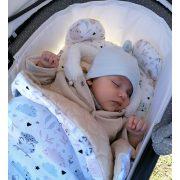 Dreamy babaágynemű szett - Virágoskert lila fehér minkyvel