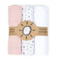 Mintás muszlin textil pelenkacsomag - Rózsaszín fehér és csillagok csillagok variáció