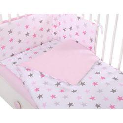 Babaágynemű szett 3 részes - Rózsaszín csillagok
