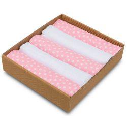 Pure 5 darabos muszlin takaró és pelenka csomag rózsaszín szívecskés