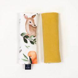Prémium babakocsi öv védőpánt - Erdei rét mustár velvettel
