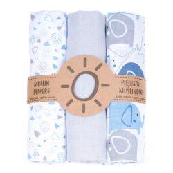 Dreamy muszlin textil pelenkacsomag - Kék elefánt és szívecskék