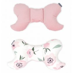 Pillangó párna - Virágok ekrü rózsaszín velvettel