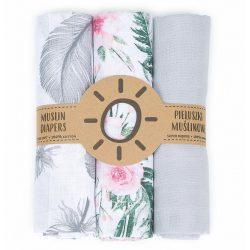Mintás muszlin textil pelenkacsomag - Rózsakert variáció
