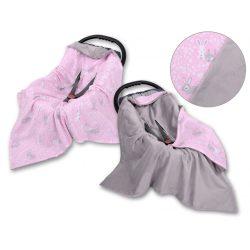 Babaülés-és babakocsi takaró - Nyuszik rózsaszín