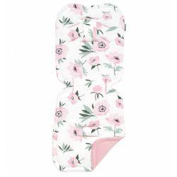 Dreamy babakocsi betét - Virágok ekrü rózsaszín velvettel