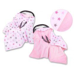 Babaülés-és babakocsi takaró - Rózsaszín csillagok