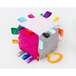 Kocka címkejáték-pink-szürke minky