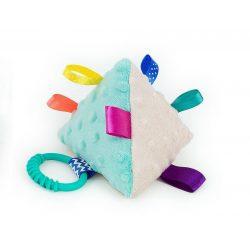 Piramis címkejáték-kék-bézs minky
