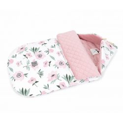 Bundazsák - Virágok ekrü rózsaszín velvettel