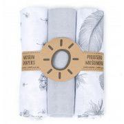 Dreamy muszlin textil pelenkacsomag - Szürke tollas variáció