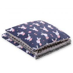 Minky takaró és párna szett  - Balerina nyuszik sötétékék