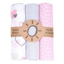 Dreamy muszlin textil pelenkacsomag - Szívecskék szürkével